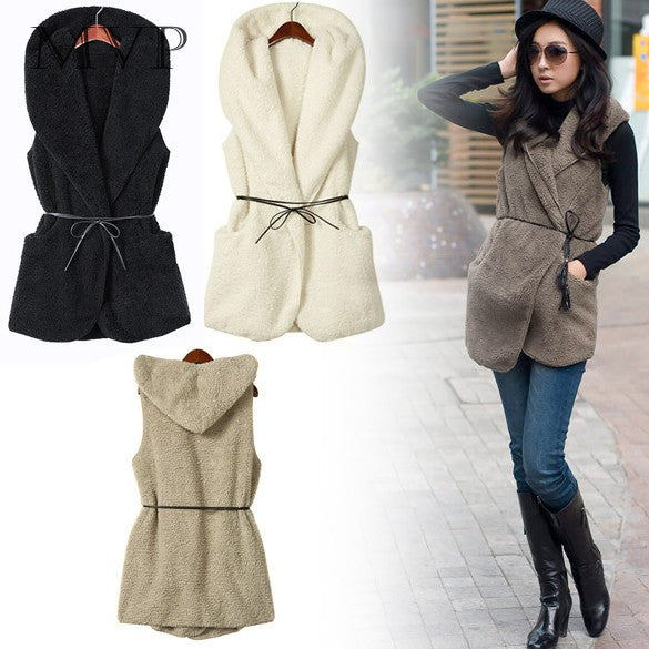 Best Selling NEW Womens Ladies Hoodie Faux Lamb Fur Long Vest Jacket Coat With Hat 5colors - On Trends Avenue