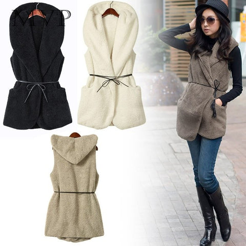 Best Selling 2016 NEW Womens Ladies Hoodie Faux Lamb Fur Long Vest Jacket Coat With Hat 5colors 36 - On Trends Avenue