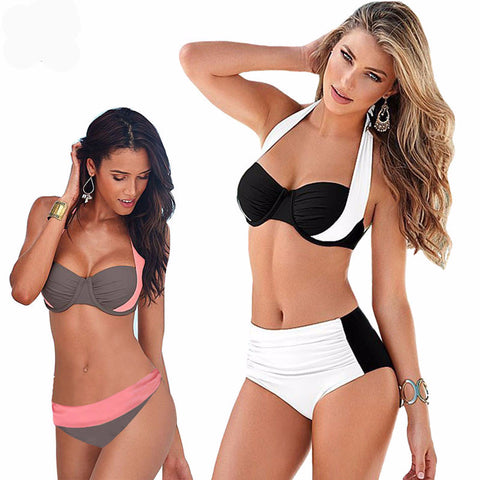 2016 New Sexy Bikinis Women Swimsuit High Waisted Bathing Suits Swim Halter Top Push Up Bikini Set Beach Plus Size Swimwear XXXL - On Trends Avenue