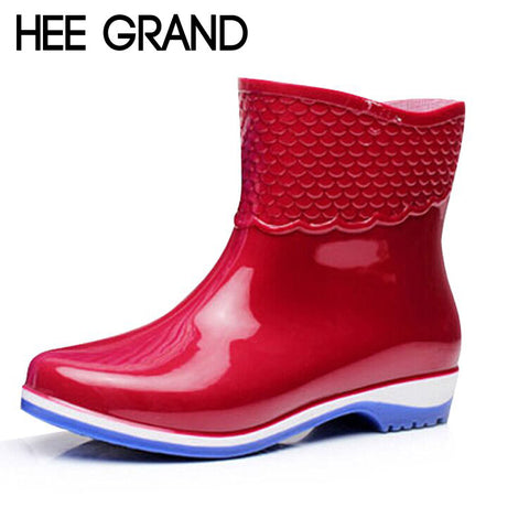 HEE GRAND Rubber Boots For Women Scale Films Pattern Woman Ankle Rainboots Waterproof Flat Heel Rainning Shoes For Women XWX4400 - On Trends Avenue