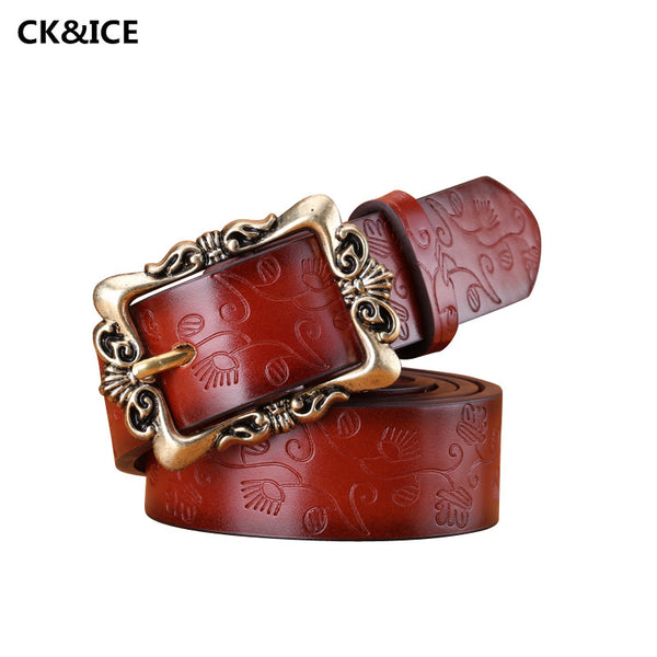 New 2017 Fashion Belts Women Retro Pin Buckle PU Leather Womens Belt Individuality Embossed All-Match Belts For Woman 110-115CM - On Trends Avenue