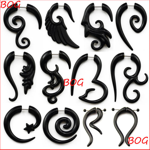 BOG-Pair Black Acrylic Fake Cheater Twist Spiral Ear Taper Gauges Expanders Earring Tunnel Plugs Piercing Body Jewelry - On Trends Avenue