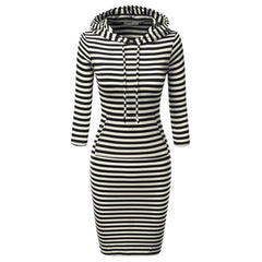 Fashion Women Striped Hoody Hoodie Hooded with Pockets Winter Wear Bodycon Casual Pencil Dress - On Trends Avenue