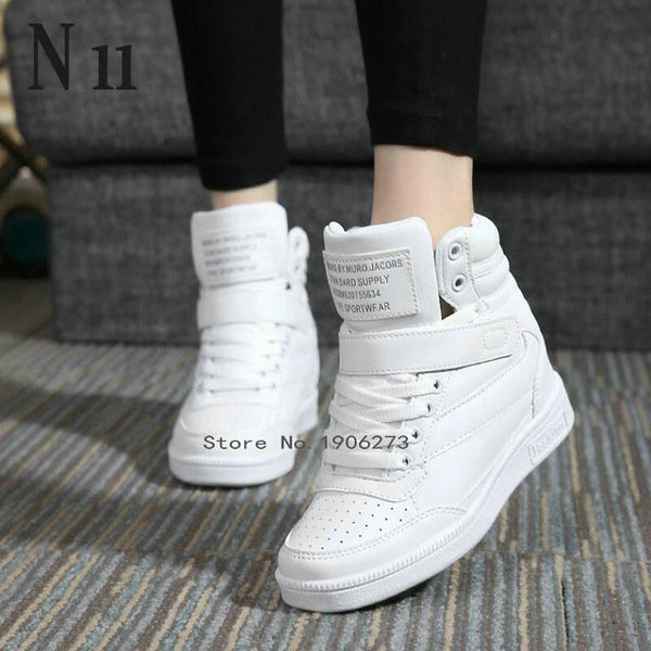 New spring ankle boots heels shoes women casual shoes height increased high top shoes mixed color Winter boots - On Trends Avenue