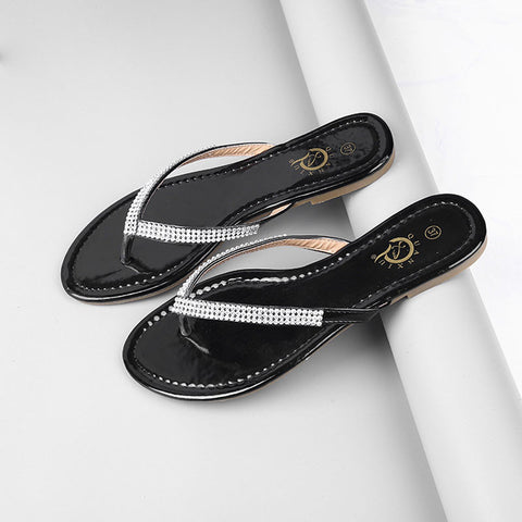 Hot Sale Summer Woman Sandals Rhinestone Flat Woman Shoes Fashion Casual Shoes Wild Concise Female Flip Flops DT194 - On Trends Avenue