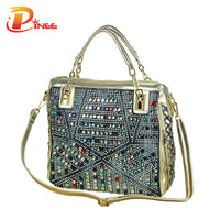 fashion brand luxury bag designer handbags high quality gold diamante woven denim bags shipping - On Trends Avenue