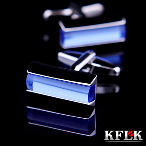 KFLK Luxury HOT shirt cufflinks for mens gifts Brand cuff button Blue Crystal cuff links High Quality