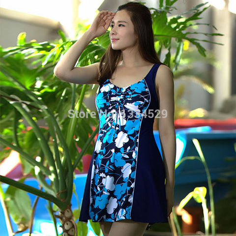 Hot spring swim suit dress one piece skirted bathing suits plus size