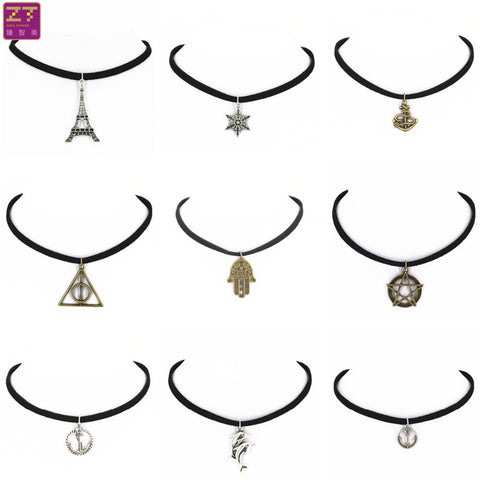 Hot new fashion torques Plain Black Velvet Ribbon statement Alloy Pendant Chokers Necklace women 2016 jewelry Gift free shipping - On Trends Avenue