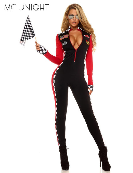 MOONIGHT Long Sleeve Sexy Uniforms Race Car Driver Halloween Costumes For Women Deep V Sexy Game Uniforms Clothing Jumpsuits - On Trends Avenue