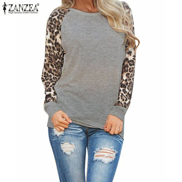 M-3XL Long Sleeve Leopard Loose Casual Tees Tops T Shirt Plus Size M-3XL - On Trends Avenue