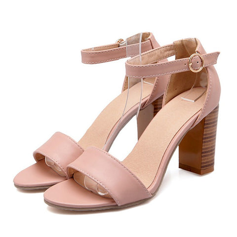 Fashion Shoes Women Sandals Open Toe Ankle Strap Career Chunky High Heels White Pink Ladies Shoes Big Size 9 10 40 41 - On Trends Avenue