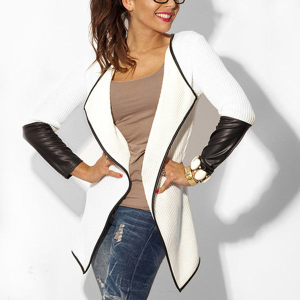 Leather Sleeve Knitted Cardigan Fashion Long Sleeve Slim Poncho Outwear Jacket Coat Black White - On Trends Avenue