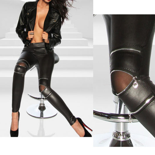 Fashion Sexy New Cool Women Classical Slim Skinny Fit Sexy Zip Faux Black Leather Leggings Pants New - On Trends Avenue