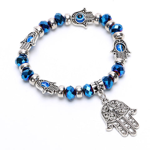 Vintage Charms Turquoise Beads Bracelet Fashion Hamsa Hand Evil Eye Crystal Glass Bracelets Women Fine Jewelry Pulseras G042 - On Trends Avenue