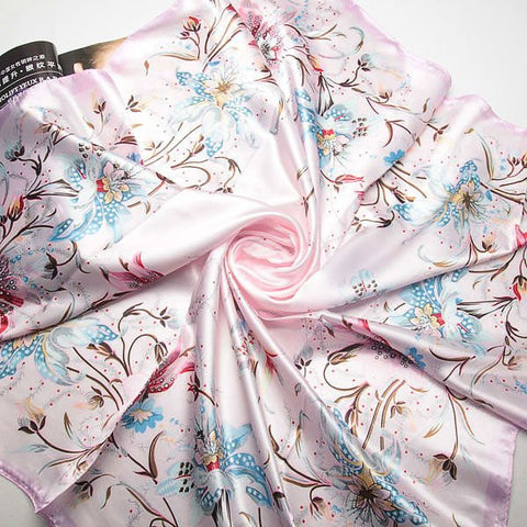 90cm*90cm  Fashion Brand Female Pink Scarf,Women Polyester Silk Scarf Flowers Design Satin Big Square Scarf/Shawl For Ladies - On Trends Avenue