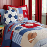 rugby football/soccer kids bedding set baseball boys bedding set handmade applique patchwork quilt bedspread set - On Trends Avenue