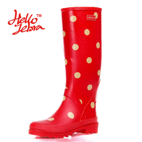 Women Polka Dot Tall Rain Boots Lady Low Heels Waterproof Welly Spot Buckle High Style Nubuck Rainboots New Fashion Design - On Trends Avenue