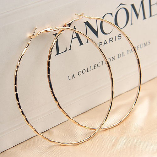 Simple Gold Plated Big Hoop Earring For Women Statement Fashion Jewelry Accessories Large Circle Round Loop Earrings - On Trends Avenue