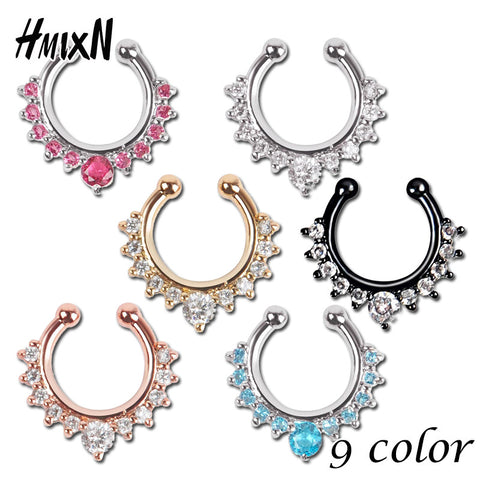 Top quality hot sale fake septum crystal clicker Fake nose Ring Piercing faux Body jewelry Hoop For Women Septum Clip non - On Trends Avenue