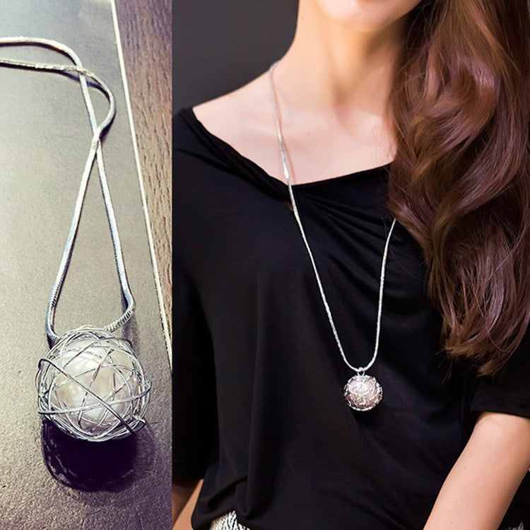 Silver chain Modern girl new long necklace women pendants fashion jewelry - On Trends Avenue