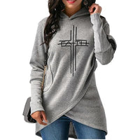 New Fashion Faith Print Hoodies Sweatshirts Women Tops Harajuku Girls Thick Funny Creative Buckle
