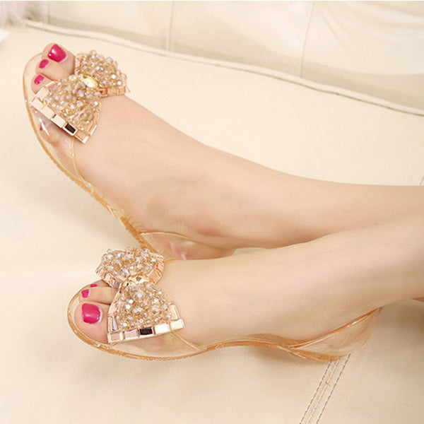 Summer Style sandals shoes women women flat sandals Transparent peep toe crystal women summer beach shoes Jelly sandals - On Trends Avenue