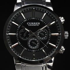 new curren ultrl big dial retro fashion design business clock luxury steel stainless man male wrist quartz sport watch 8001 - On Trends Avenue