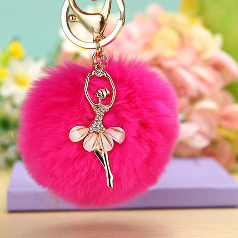 Ballerina Girl Fluffy Real Rabbit Fur Ball Keychain Car Key Chain Ring Decoration For Purse Bag EH-501 - On Trends Avenue
