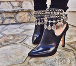 Retro Bohemian Moon Lovers Turkish Coin Silver Antalya Anklet Gypsy Beachy Coachella Tassels vintage Fashion Foot Jewelry - On Trends Avenue