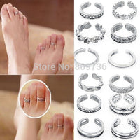 12pcs Mix Celebrity Fashion Simple Retro Carved Flower Adjustable Toe Ring Foot Women Jewelry Drop Free - On Trends Avenue