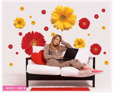 1Set ZY6015 rDaisy Flower Living Room Vinyl 3D Wall Stickers Window Decor Bedroom Wall Decals Sticker To The Kitchen On The Door - On Trends Avenue