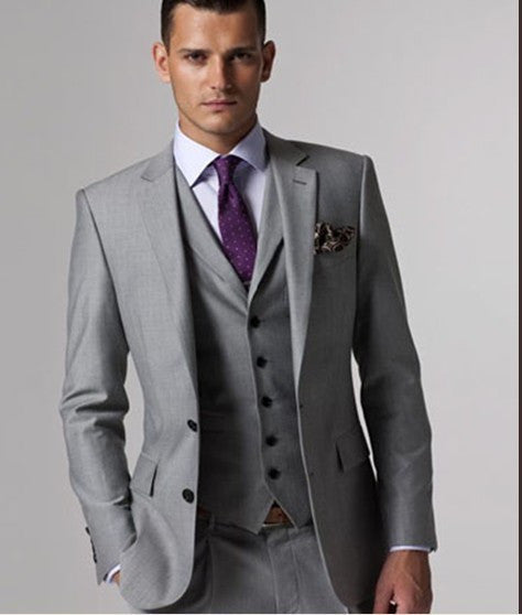 Custom made Mens Light Grey Suits Jacket Pants Formal Dress Men Suit Set men wedding suits groom tuxedos(jacket+pants+vest+tie)) - On Trends Avenue