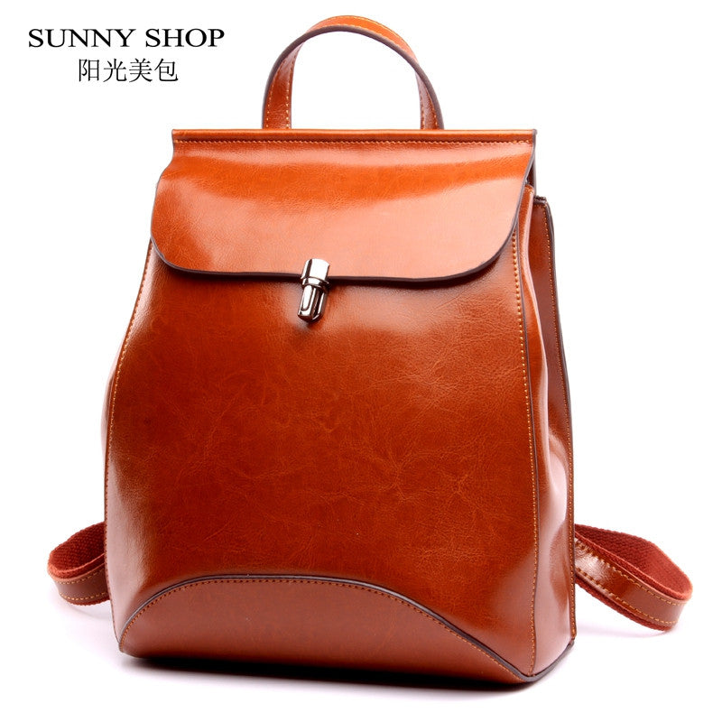 SUNNY SHOP Japan and Korean Style Genuine Leather Women Backpack Vintage School Backpack For Girls Brand Designer Bags Best Gift - On Trends Avenue