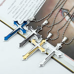 Men's Cool 3 Layer Cross Stainless Steel Cross Pendant Free Chain Necklace - On Trends Avenue