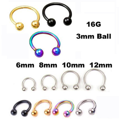 2Piece Stainless Steel Nostril Nose Ring piercing ball Horseshoe Rings CBR ring BCR earring - On Trends Avenue