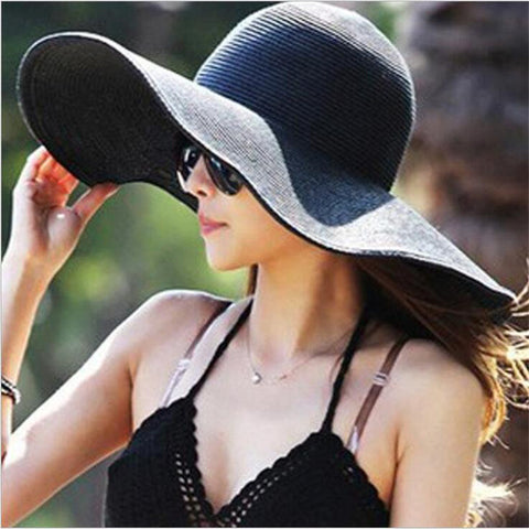 New Summer Fashion Women's Ladies' Foldable Wide Large Brim Floppy Summer Sun Beach Hat Straw Hat Cap - On Trends Avenue