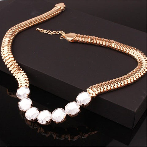 New Statement Choker Vintage Charms Gold Plated Chain Collar Rhinestone Crystal Punk Necklaces Women Fine Jewelry Colares A162 - On Trends Avenue