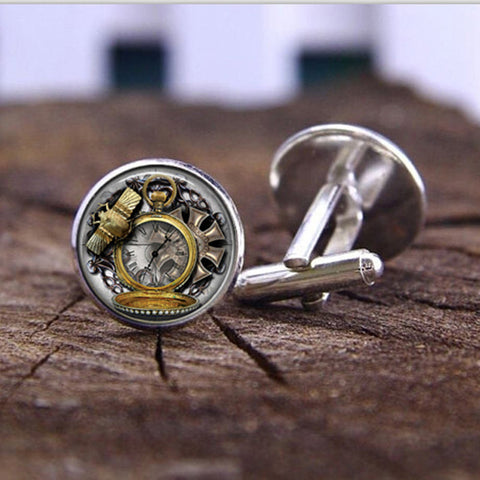 fashion handmade Cufflink Vintage Animals Owl Clock Watch Glass Cabochon Steampunk Art Picture High Quality Cufflink jewelry - On Trends Avenue