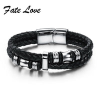 Fashion Black Double Layer Braided Leather Bracelet Men Stainless Steel Silver Bracelets Bangles with Magnetic Buckle 911 - On Trends Avenue