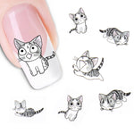 New Fashion Lovely Sweet Water Transfer 3D Grey Cute Cat Nail Art Sticker Full Wraps Manicure Decal DIY - On Trends Avenue