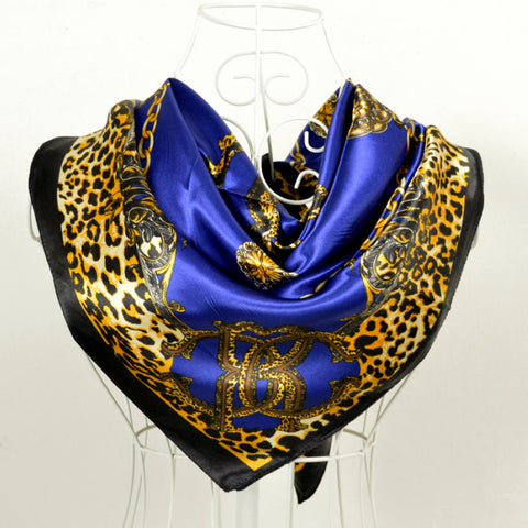 Cachecois Women Dark Blue Silk Shawl Scarf Printed New Design Leopard Print Chain Pattern Wraps Scarves Spring 90cm Satin Scarf - On Trends Avenue