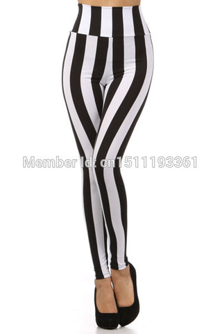 plus size high waist black white striped leggings stretchy leggings S/M/L/XL - On Trends Avenue