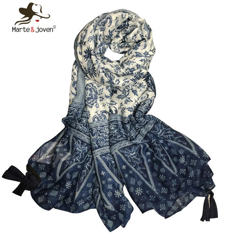 Oversized blue and white porcelain ethnic style scarves flower print chiffon scarf with exquisite tassels traditional bandana - On Trends Avenue