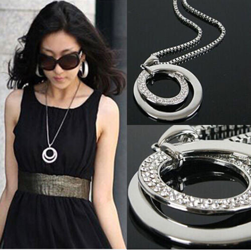 Long Chain Women Fashion Crystal Rhinestone Chunky Silver Plated Double Circle Pendant Necklace - On Trends Avenue