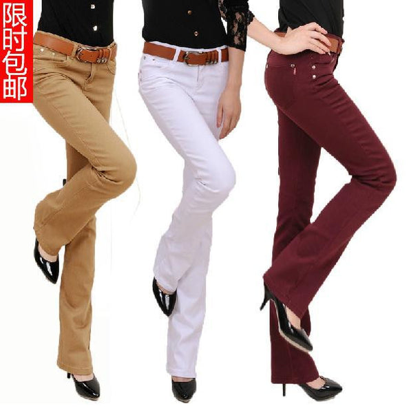 Plus Size Women 's Fashion Boot Cut Trousers Candy Colors Pants pencil pants Long Fashion Slim Formal Trousers