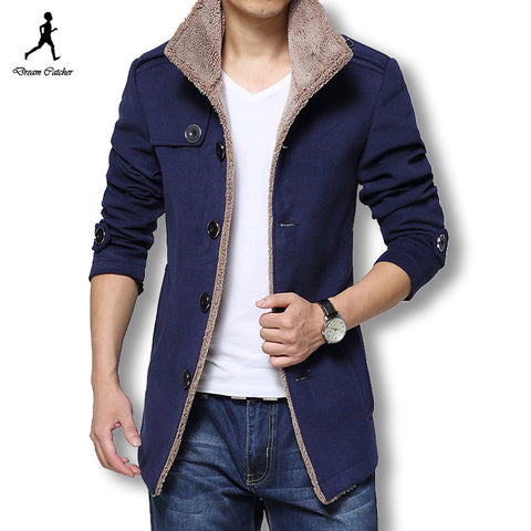 Available in Large Sizes Men Long Wool Slim Fit Trench Coat - On Trends Avenue