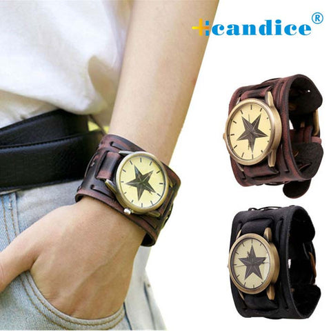 Splendid summer style New Retro Punk Rock Brown Big Wide Leather Bracelet Cuff Men Designer Watch Cool Casual Watch Business Man - On Trends Avenue