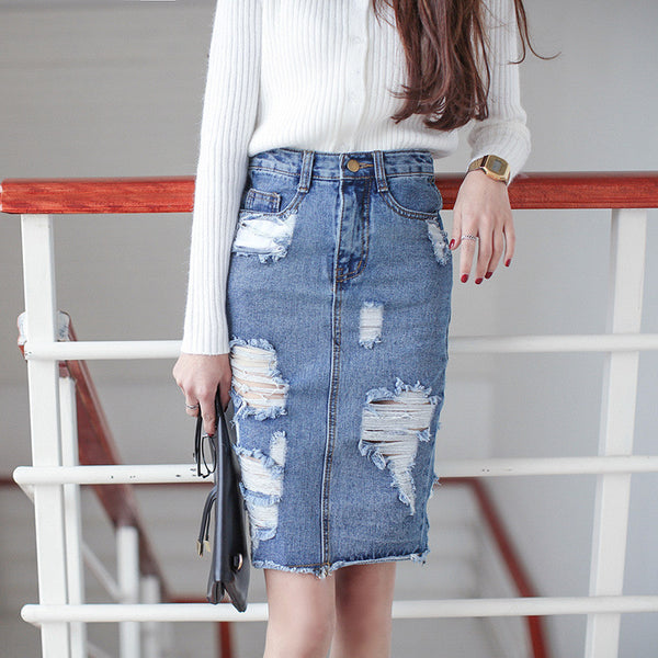3XL Plus Size Denim Skirt Women /Winter Vintage Ripped Denim Skirt Slim Office Skirt Sexy Pencil Skirt Women Jeans - On Trends Avenue