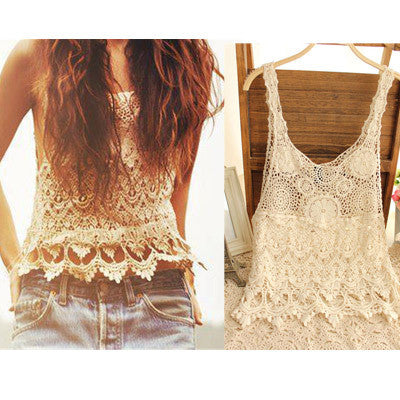 Lace Crop Top Cropped Women Sexy T-shirts Women Blusa Hollow Out Lace Crochet Tank Top Tee Shirts Female Camisole Vest Cami - On Trends Avenue